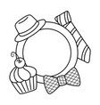 plate with hat bow tie and muffin black and white vector image vector image