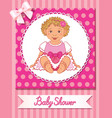 postcard of baby shower with cute nice girl on vector image vector image