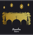 ramadan kareem card with silhouette mosque vector image