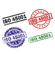 scratched textured iso 45001 stamp seals vector image vector image
