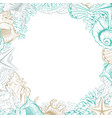 square frame with seashells isolated vector image