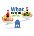 Unhealthy food and healthy vegan eating vector image