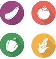 Vegetables flat design icons set vector image