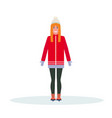 woman skater wearing winter clothes girl skating vector image