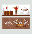 woodworking banner character lumberjack with axe vector image vector image