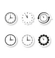 work time clocks set sticker icons vector image vector image