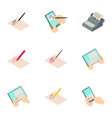 write a book icons set isometric style vector image vector image