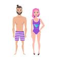 Young man and women in beach swimsuit