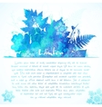 Blue watercolor painted winter leaves greeting vector image