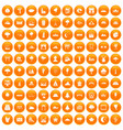 100 view icons set orange vector image vector image