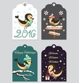 4 Christmas gift tags with hand drawn birds vector image