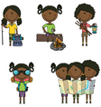 African-American camping girls vector image vector image