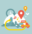 an urban life with taxi and geo location vector image