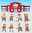 animals students near school vector image vector image
