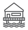 beach bungalow line icon seaside and hut beach vector image vector image