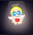 beautiful and pretty cartoon little angel vector image vector image