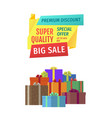 big sale sellout promo poster with present boxes vector image vector image