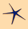blue starfish with orange contur on the brown vector image