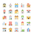 buildings flat icons collection vector image vector image