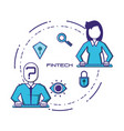 business people with financial technology icons vector image