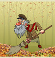 cartoon angry bearded janitor sweeping broom in vector image vector image