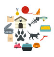 cat care tools icons set in flat style vector image