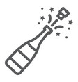 champagne bottle pop line icon alcohol vector image