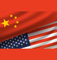 china and usa background with flags vector image vector image