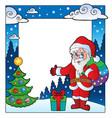 christmas theme frame 2 vector image vector image