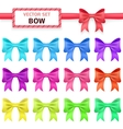 Collection colorful ribbon bows on white vector image