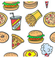 collection stock of fast food style doodles vector image vector image