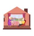 cozy domestic lifestyle elderly couple drink tea vector image