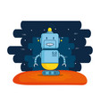 cute robot electronic with universe background vector image vector image
