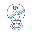 driver at steering wheel signal satellite design vector image