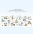 ecological factory advertising flat line vector image vector image