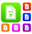 file mp3 set collection vector image vector image