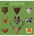 Forest animals flat icons Set 1 vector image vector image