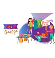 garage sale young beautiful women at weekly vector image vector image