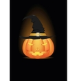 Halloween pumpkin in witch hat vector image vector image