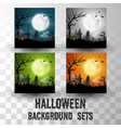 halloween silhouette background sets vector image vector image