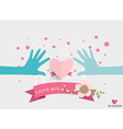 Hands holding heart Heart paper with floral vector image
