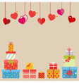 Hanging red hearts and gift boxes vector image vector image