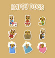 happy dogs cute stickers set cute pets animals vector image vector image