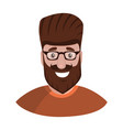 hipster with a beard and glasses isolated on a vector image