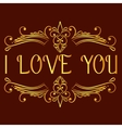 I love you card with decorative divider vector image vector image