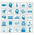 Icons Business Travel Sport law set retro flat vector image
