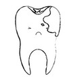 kawaii tooth with root and caries by side in vector image