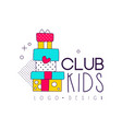 kids club logo design element for development vector image vector image