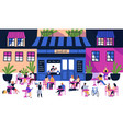many tiny people sitting at outdoor sidewalk cafe vector image vector image
