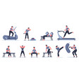 men at sport gym male fitness character run pull vector image vector image